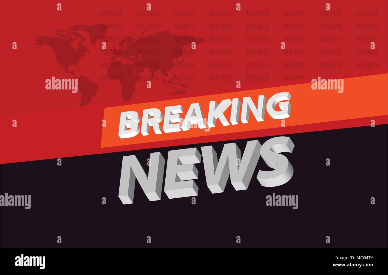 Graphical 3d Breaking News Background On Orange Band Tv Concept