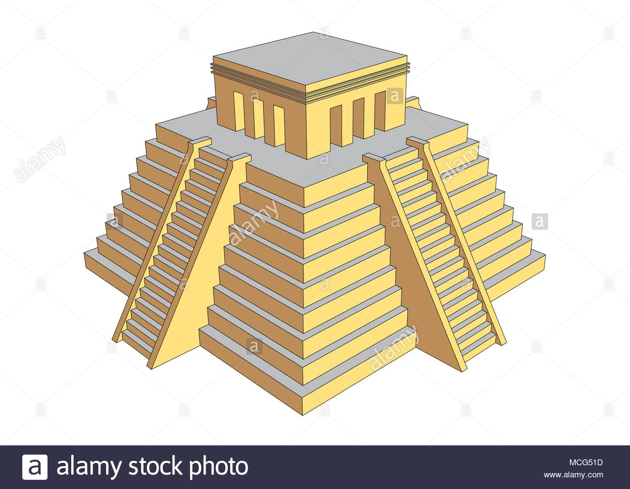 Pyramid illustration resembling mayan or aztec style. Mesoamerican religious building where human sacrifices was offered to gods Stock Vector