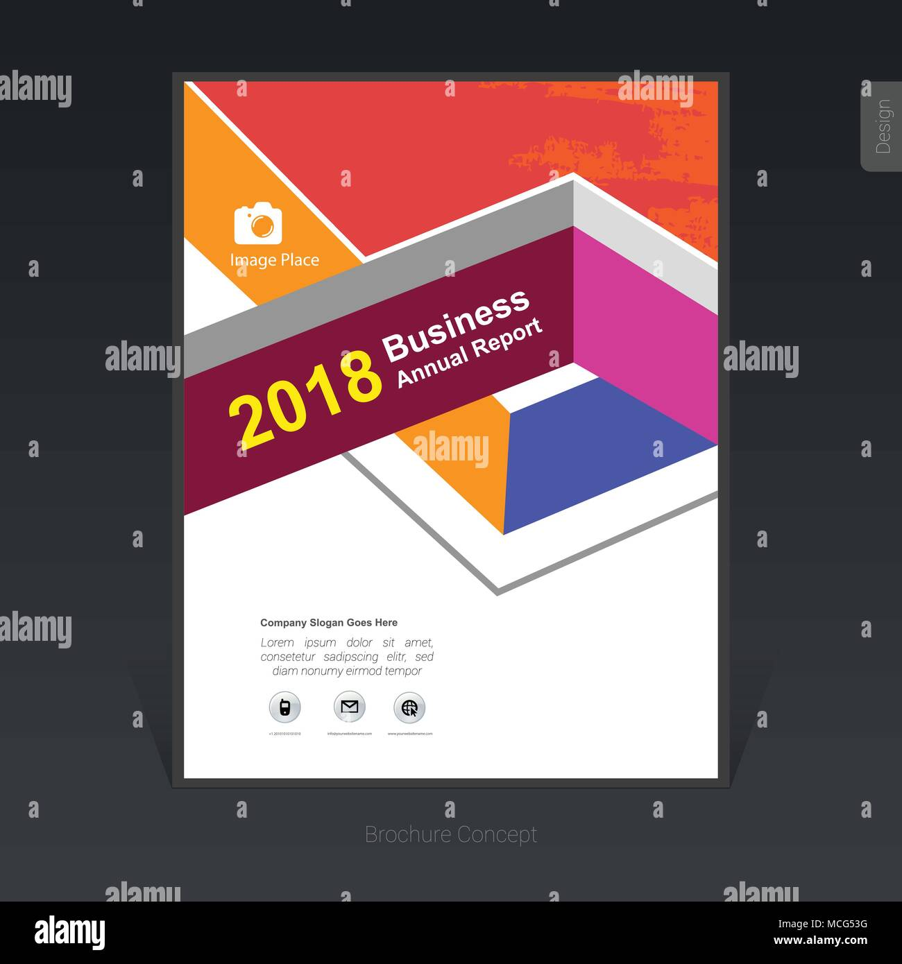 Geometric colorful business brochure template, cover design, flyer - Vector Illustration - Stock Image