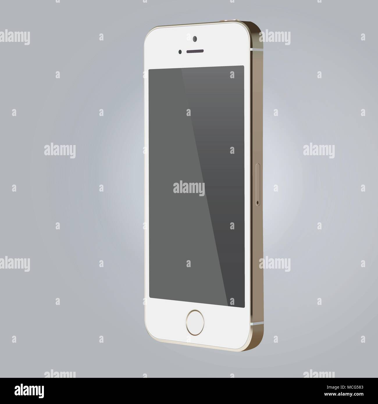 Realistic device mock-up, white color smartphone vector illustration - Stock Vector