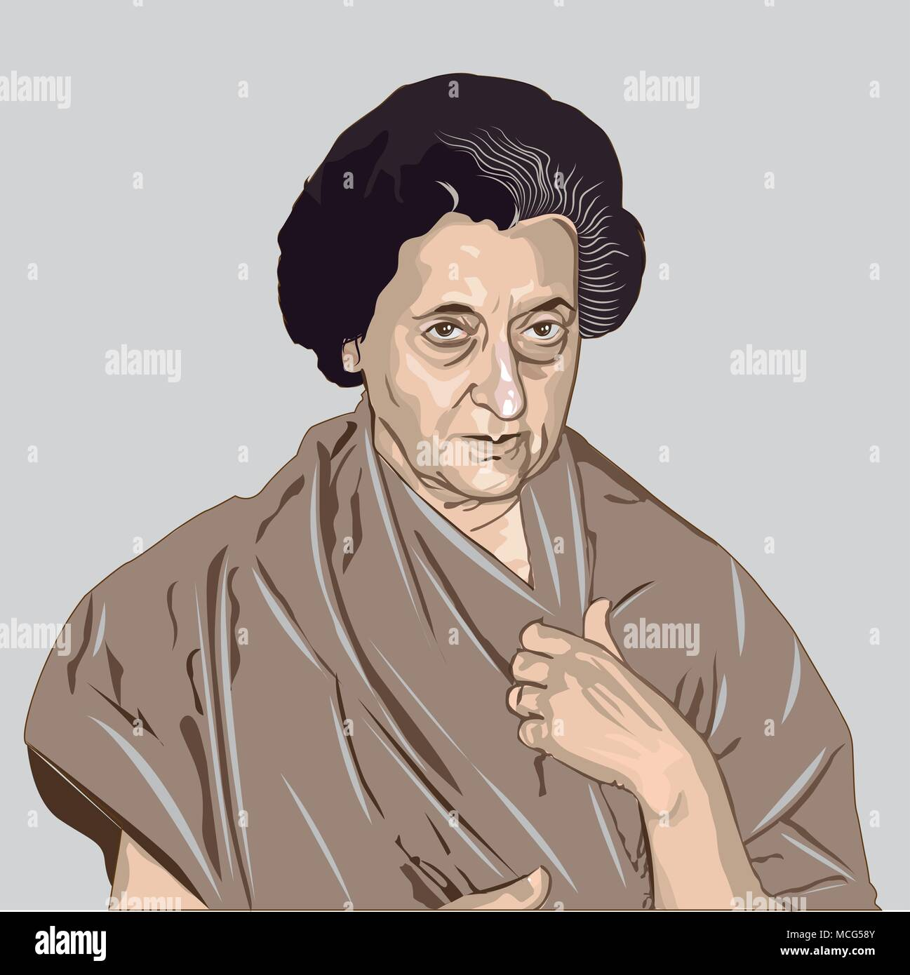 Indira Gandhi (1917-1984) Indian politician and central figure of the Indian National Congress party. The former prime minister of independent India. - Stock Image