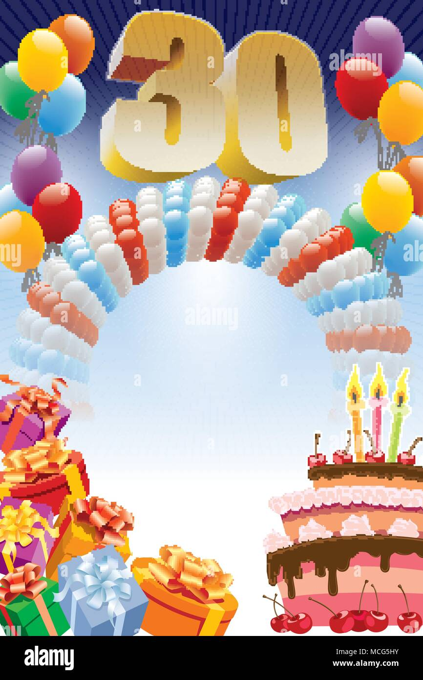 Background With Design Elements And The Birthday Cake The Poster Or