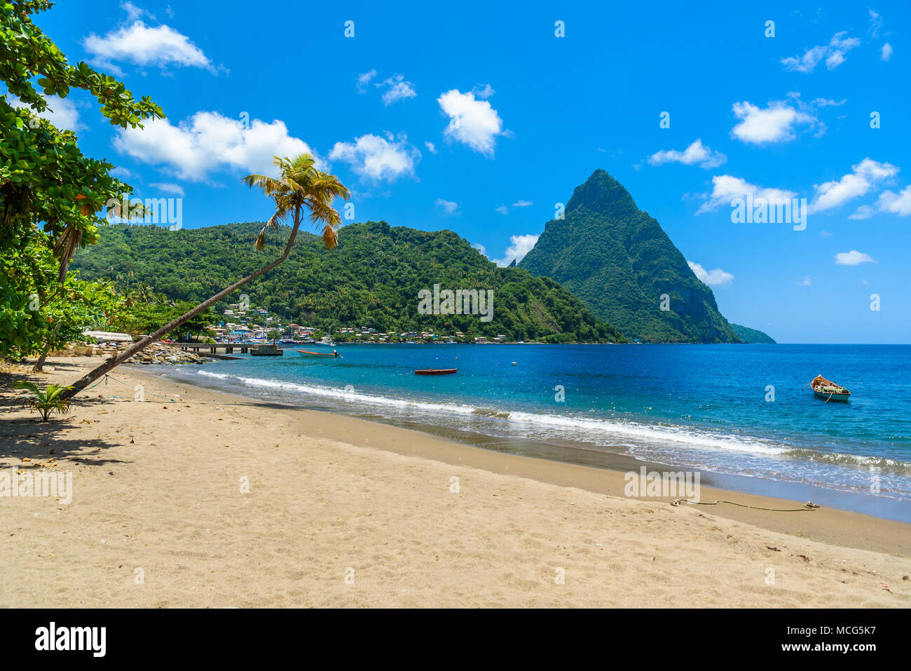 Paradise beach at Soufriere Bay with view to Piton at small town Soufriere in Saint Lucia, Tropical Caribbean Island. - Stock Image