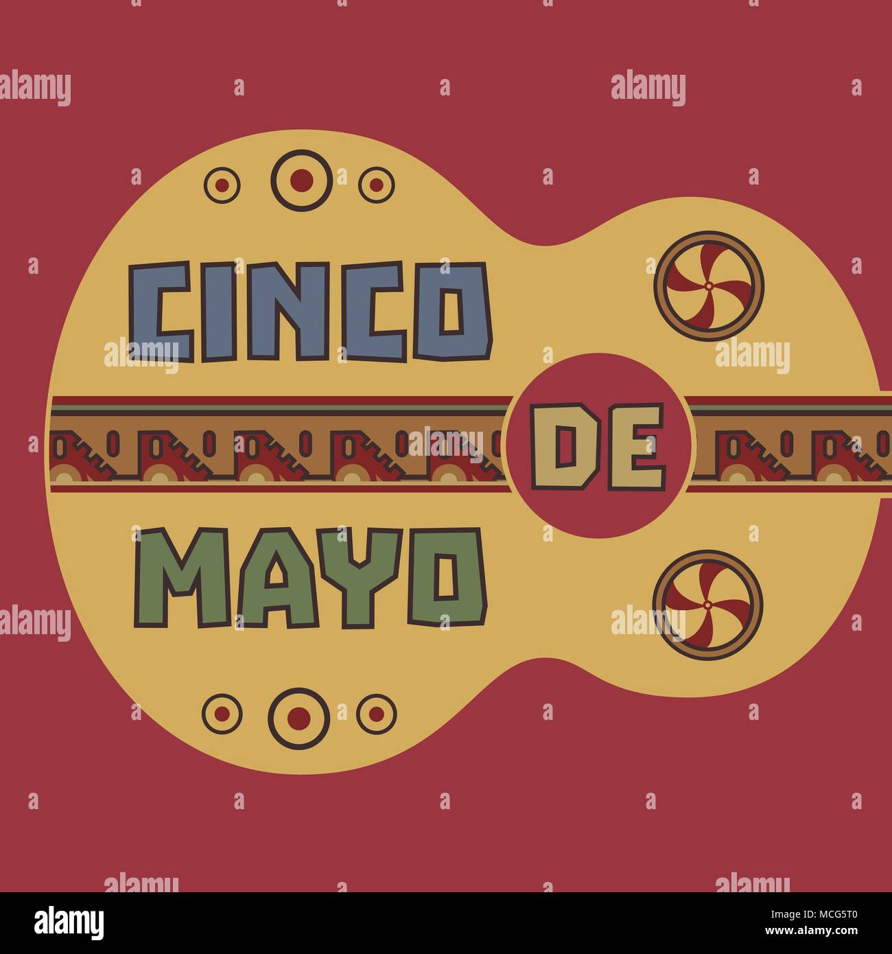 Mexican Fiesta holiday Cinco de Mayo. Greeting text. Guitar silhuette. Decorative old indian sings pattern. Festival celebration traditional symbol of - Stock Vector