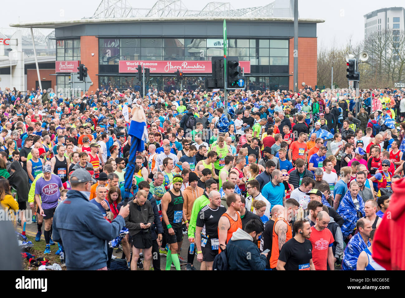 MANCHESTER, ENGLAND - 08 APRIL, 2018: RUNNERS AT THE GREATER MANCHESTER MARATHON in Manchester, UK - Stock Image