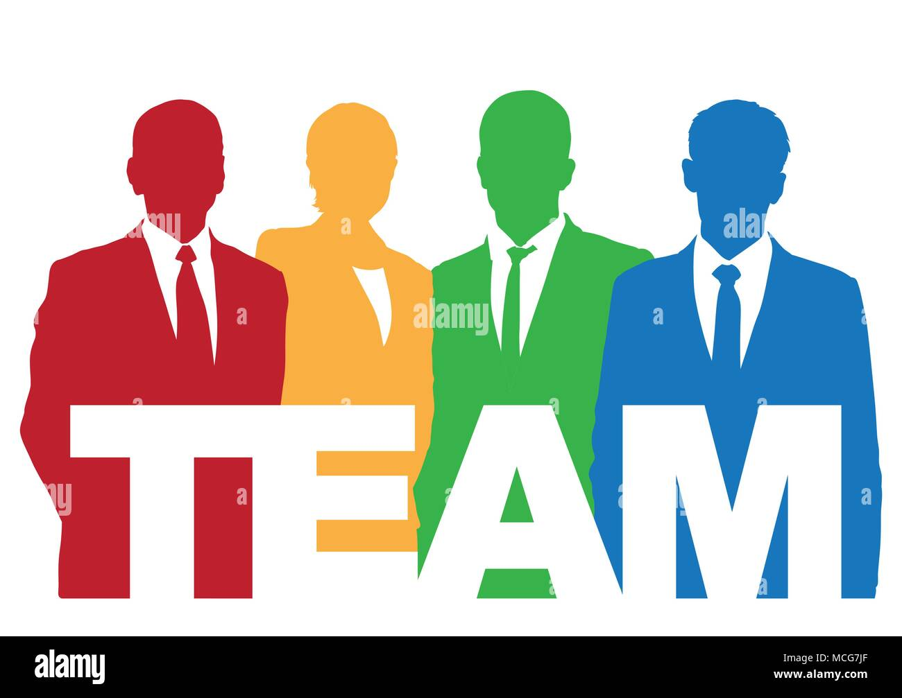Good business team. The members of the team think differently, but they work together. - Stock Vector