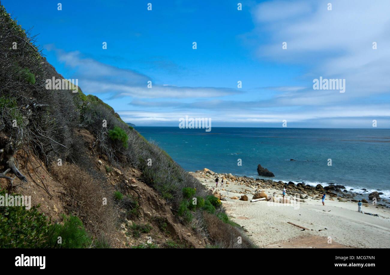 Secluded beach near Malibu on the Southern California coast - Stock Image