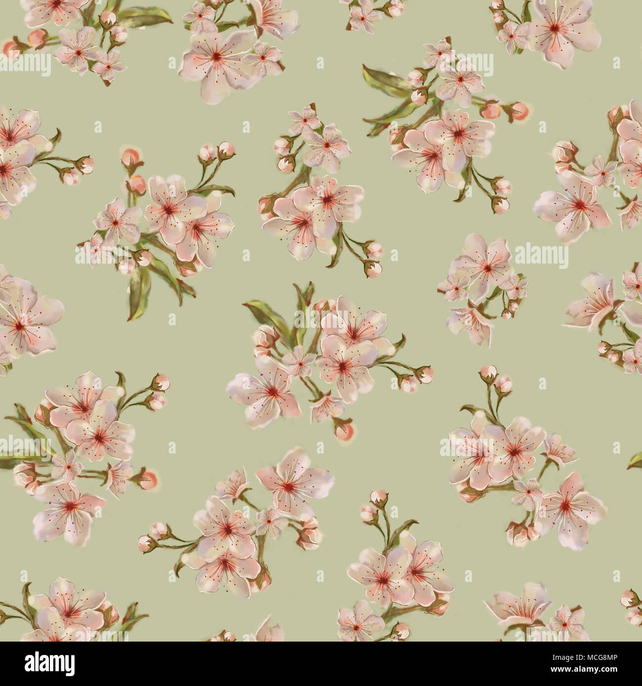Peach bouquets on green background fruit tree floral seamless pattern for background print and textile watercolor hand painted botanical