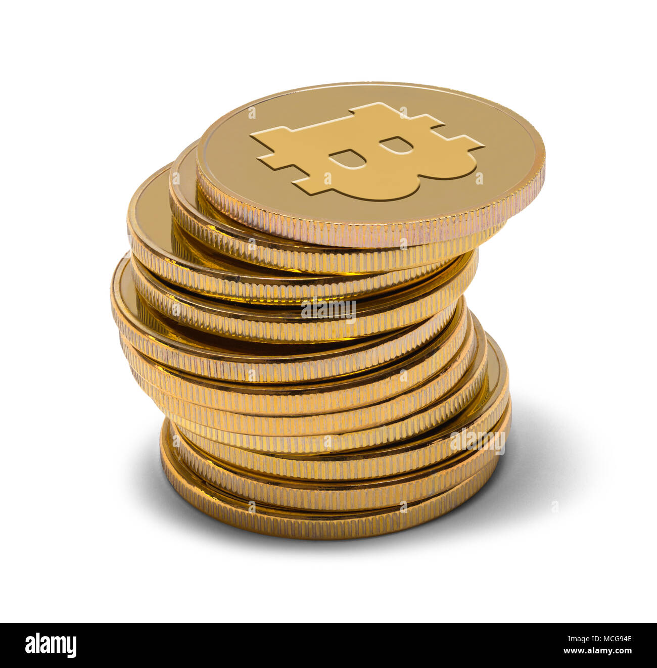 Stack of Gold Bitcoins Isolated on a White Background. - Stock Image