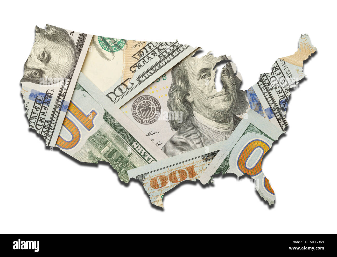 Hundred Dollar Bill USA Map Isolated on White Background. - Stock Image