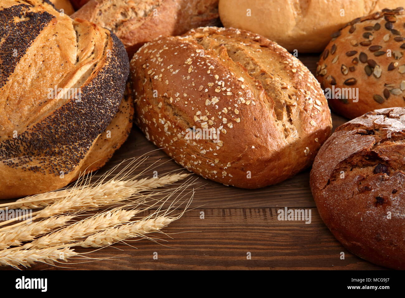 Bread and rolls in present times occur in many types and shapes not only in Poland but also around the world. Stock Photo