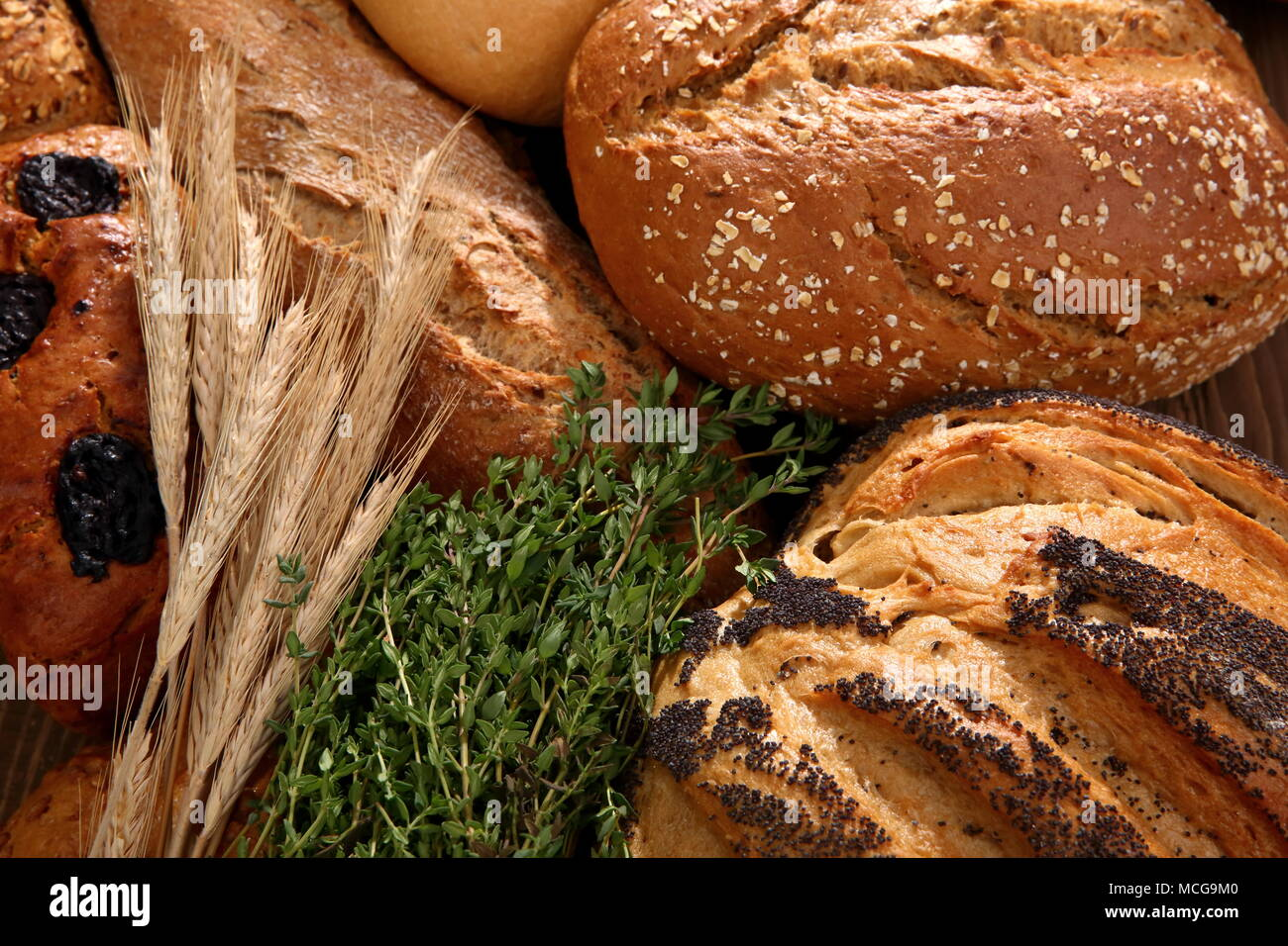 Bread and rolls at present times occur in many types and shapes not only in Poland but all over the world. - Stock Image