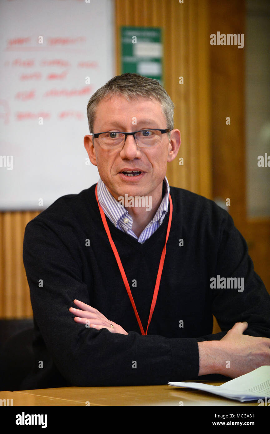 Neil McCulloch chief operating officer Enquest at a meeting at the handover from BP to Enquest at Sullom Voe terminal Shetland - Stock Image