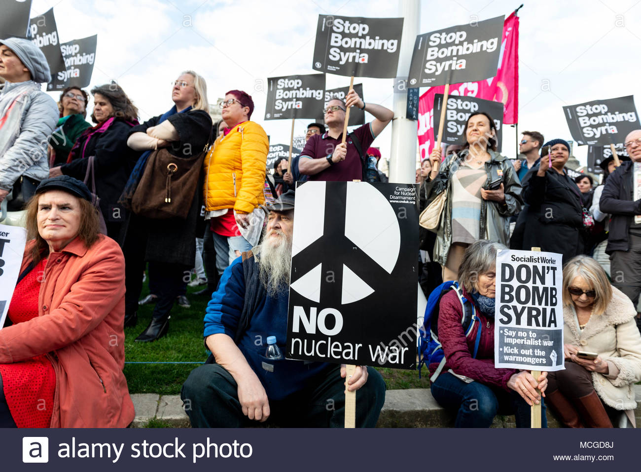 London, England, 16th April, 2018. After Friday night's Coalition strike by America, Great Britain and France on sites near Damascus and Homs in Syria that were hit in an alleged chemical attack in Douma on April 7th 2018, anti-war activists took to the street and showed they anger outside Downing Street. Credit: David Nash/Alamy Live News - Stock Image