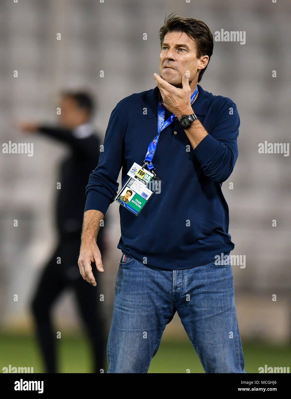 Doha, Qatar. 16th Apr, 2018. Al Rayyan head coach Michael Laudrup reacts during the AFC Champions League Group D soccer match between Qatar's Al Rayyan SC and UAE's Al Ain FC at Jassim Bin Hamad Stadium in Doha, Qatar, April 16, 2018. Al Ain FC won 4-1. Credit: Nikku/Xinhua/Alamy Live News Stock Photo