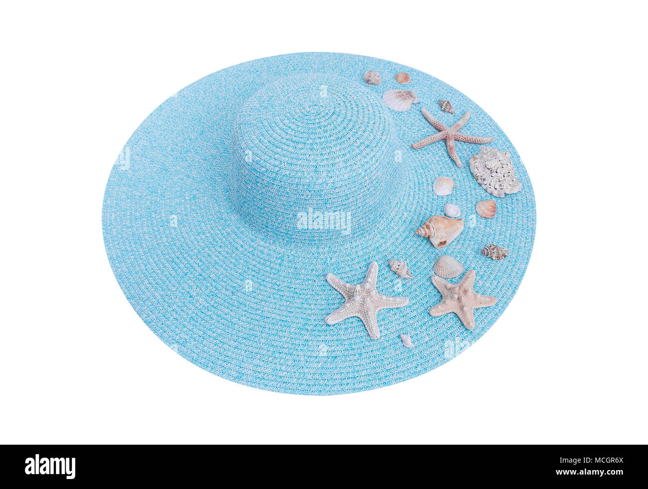 Starfish and seashells on a hat. - Stock Image