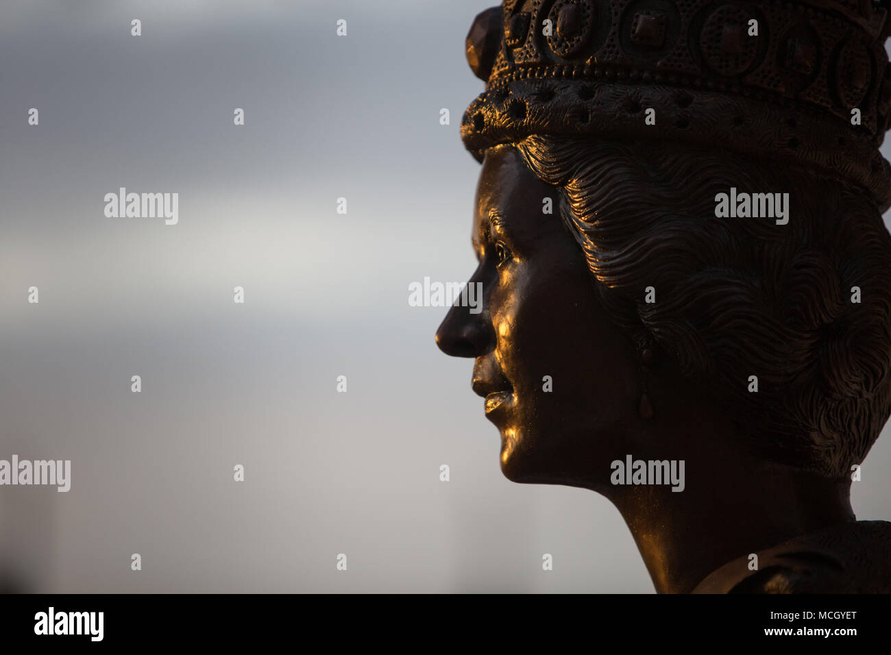 Portrait bust of Queen Elizabeth II, in Port Moresby, Papua New Guinea, on 4 December 2017. Stock Photo