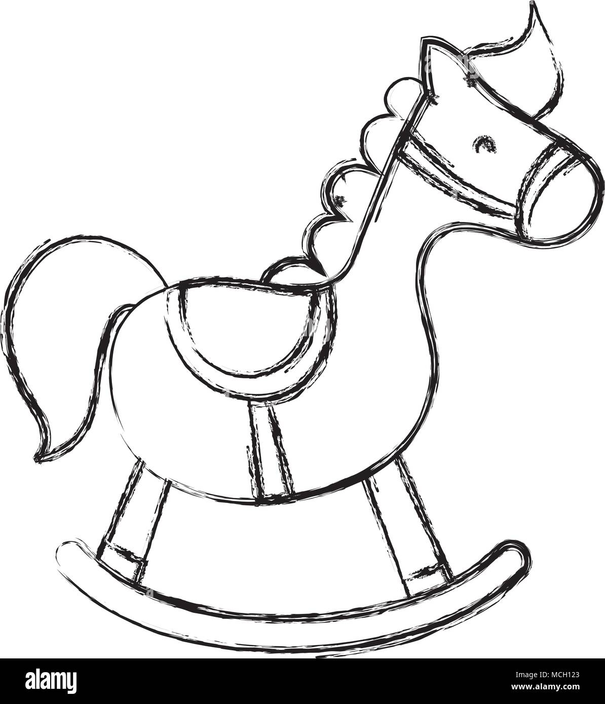 Grunge Wooden Rocking Horse Play Toy Vector Illustration Stock Vector Image Art Alamy