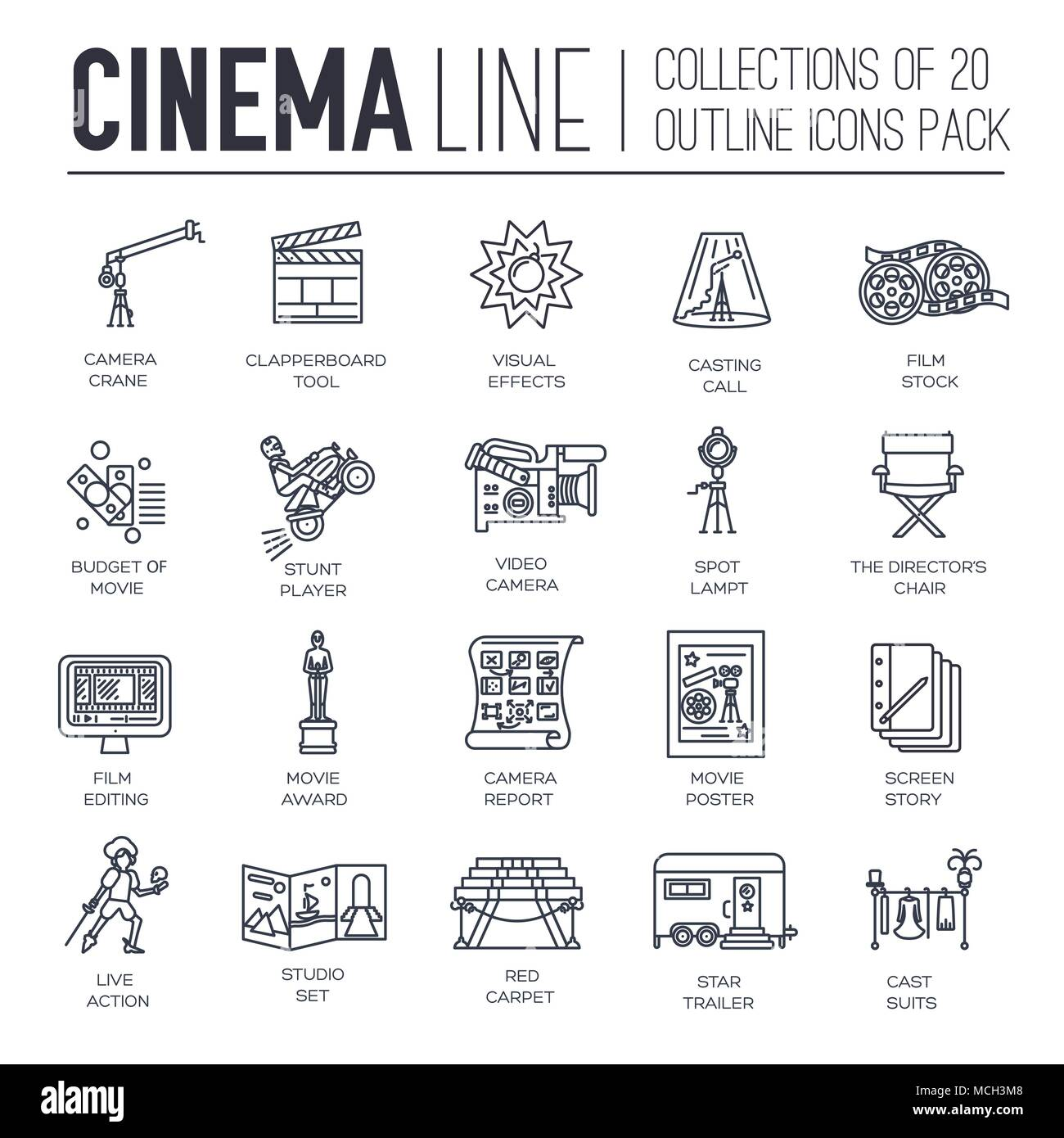 Premium quality cinema industry thin line design set. Filming minimalistic symbol pack. Outline movie technology template of icon, typography, logo, pictogram and illustration concept  - Stock Image