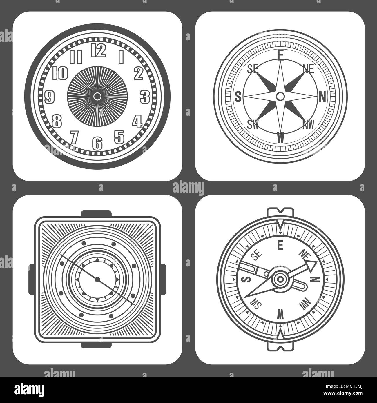 Set of Classic design mechanical wristwatch isolated on white background. Clock face with hour, minute and second hands. Vector illustration. - Stock Image