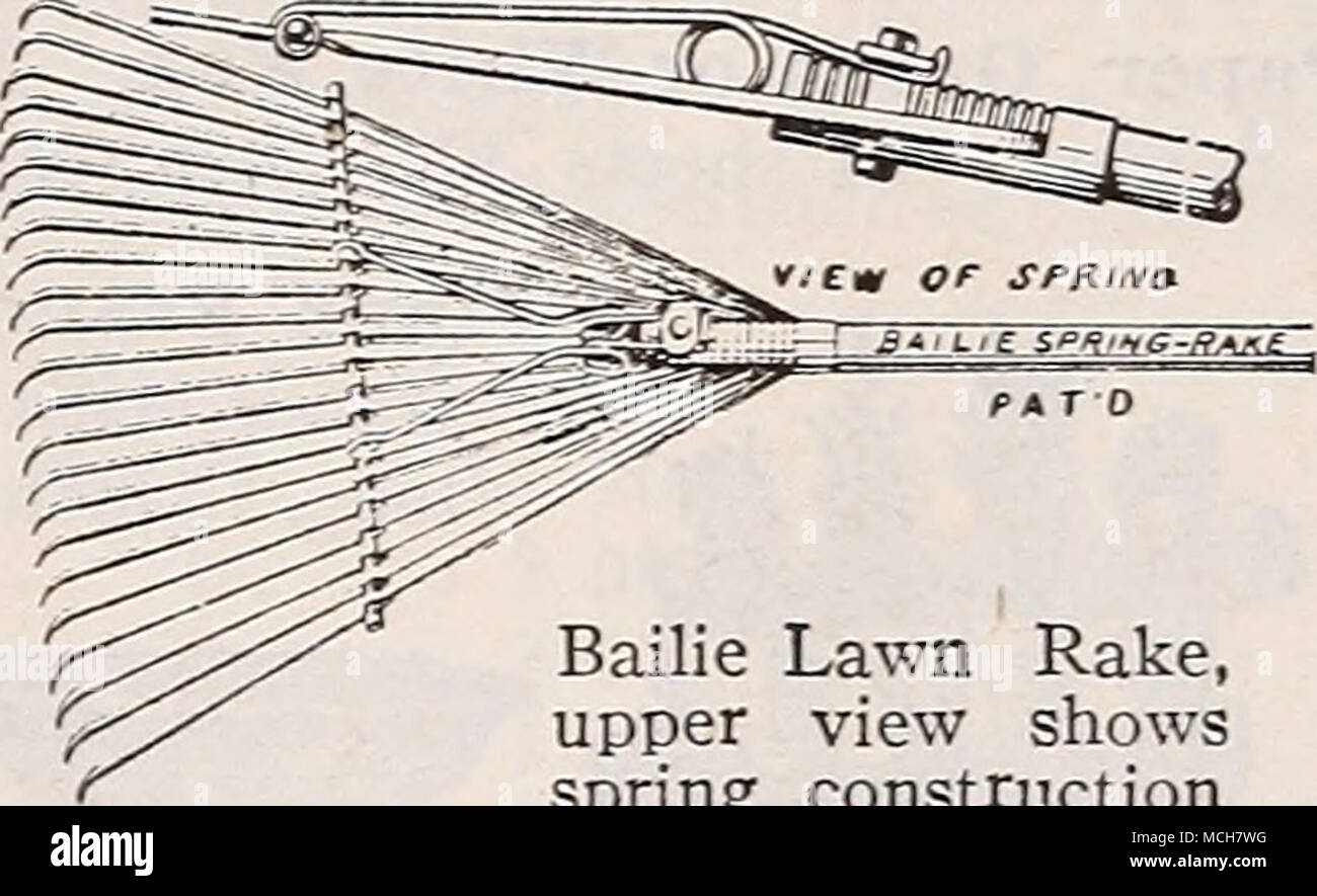 . Bailie Lawn Rake, upper view shows spring construction Bamboo Broom Rake. Will sweep the lawn of even the finer particles.Very light in weight, fitted with pol- ished hardwood handles, 18-inch head 75c; 24-inch head $1.00. SThe Depue Superbilt DEPUE Hp JW Rake is without ques- UPERBIL X ^Jlr tion the finest wood lawn rake ever offered. The head of the tool and the handle are of straight grained ash, the 28 teeth of hickory. The handle and the steel supporting arms are bolted solidly into the head. $2.00. - Stock Image