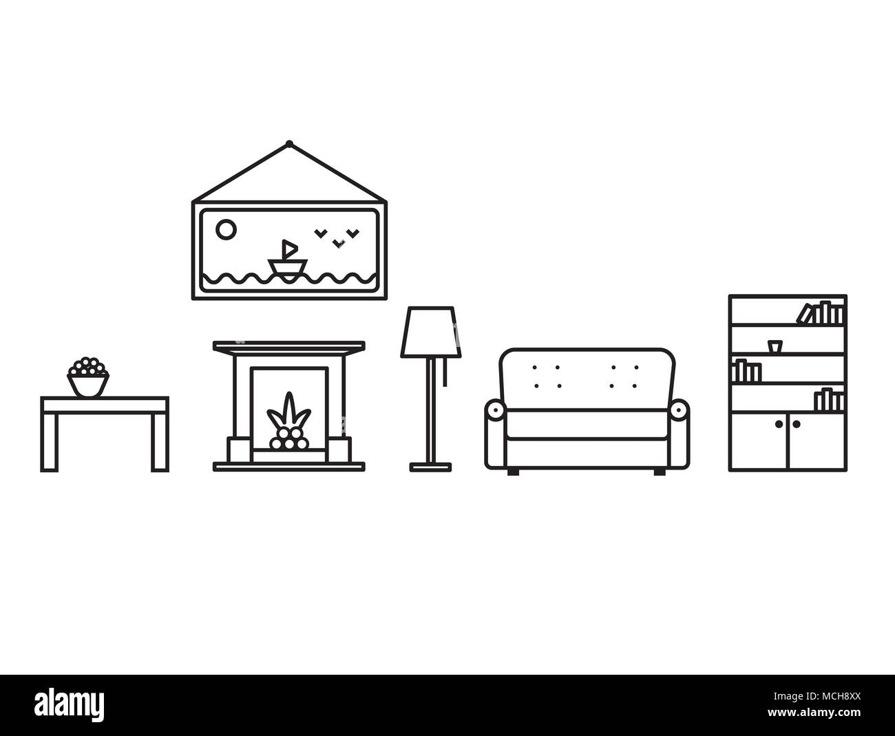Interior objects of the living room in line art style. In the room ...