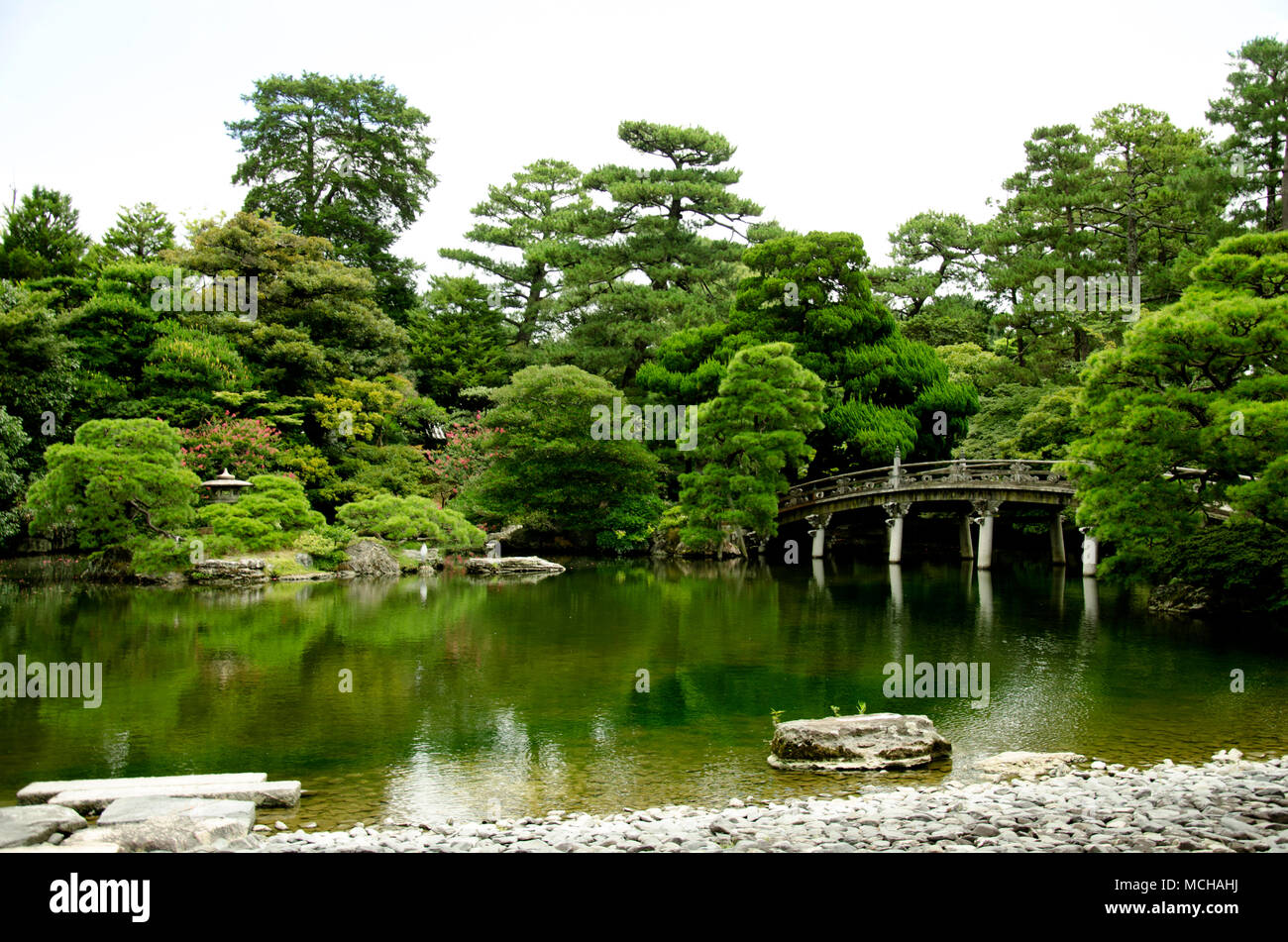 Japanese garden, Imperial palace in Kyoto - Stock Image