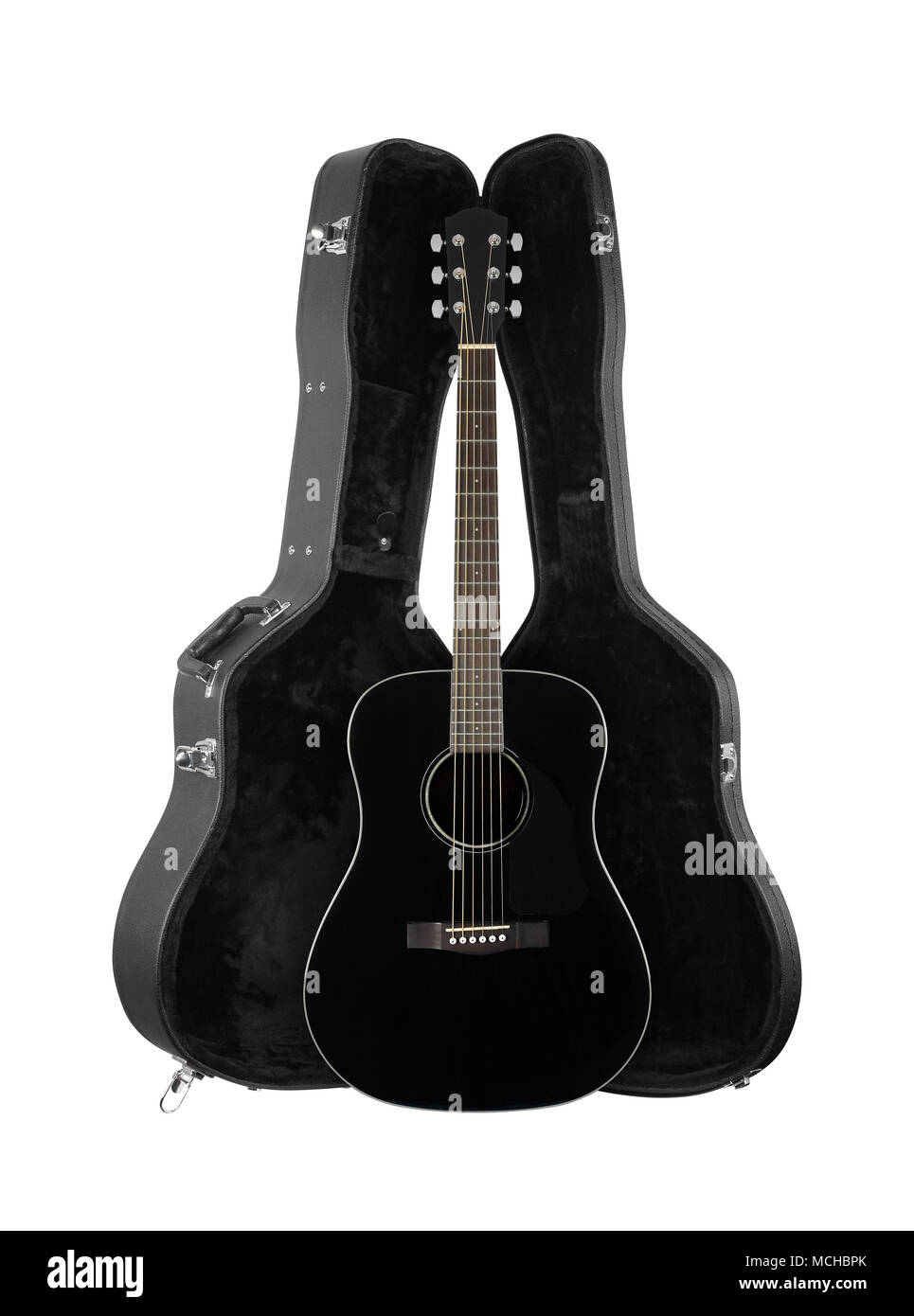 Musical instrument - Front view black acoustic guitar in hard case  isolated on a white background. Stock Photo