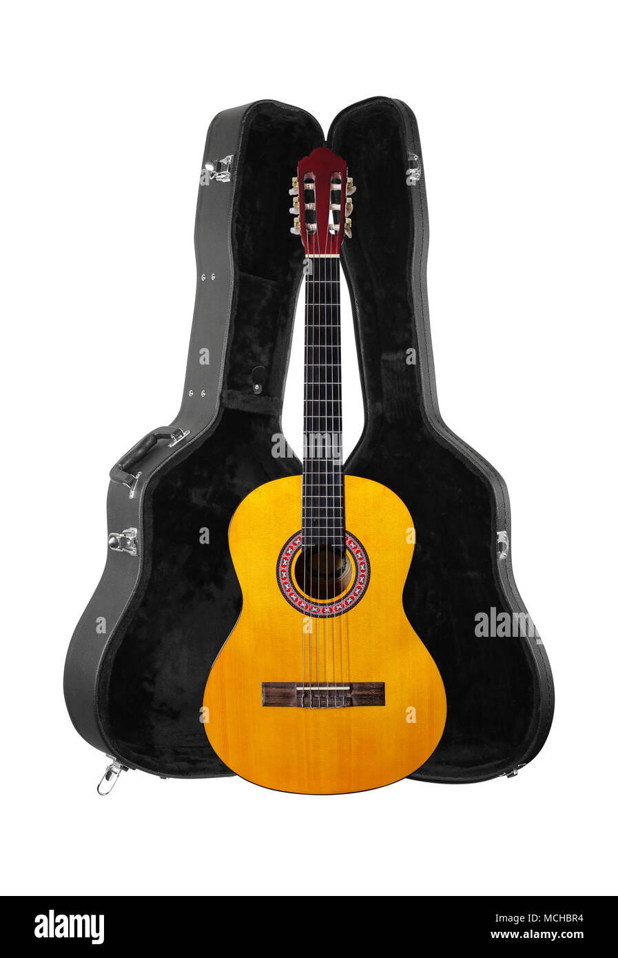Musical instrument - Front view classic acoustic guitar in hard case  isolated on a white background. Stock Photo