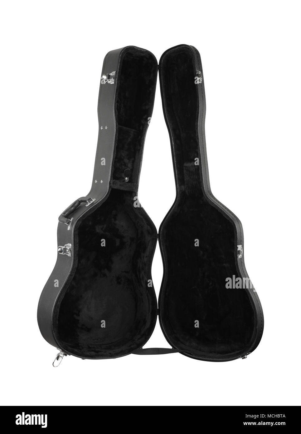 Musical instrument - Open black acoustic guitar hard case on a white background. Isolated - Stock Image