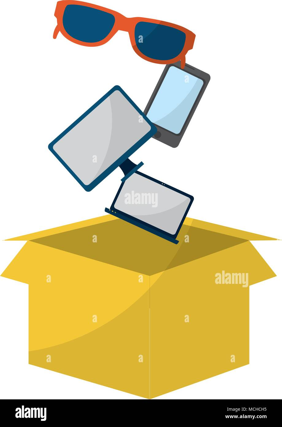 screen computer with smartphone and sunglass inside box vector illustration - Stock Image