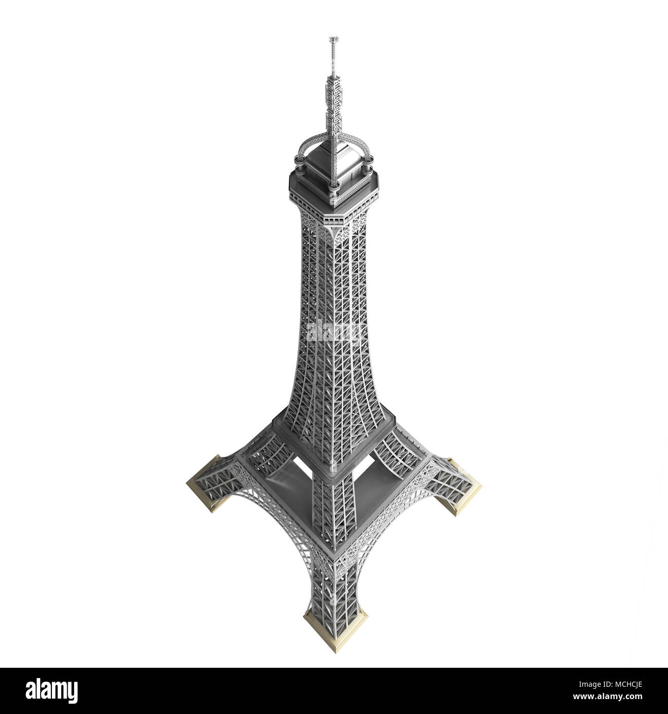 Eiffel tower in Paris isolated on the white backgroun, earial top view. - Stock Image