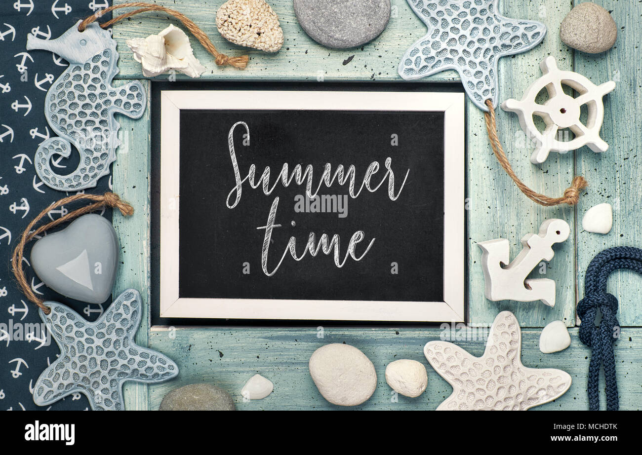 Blackboard With Summer Time Chalk Text With Sea Shells
