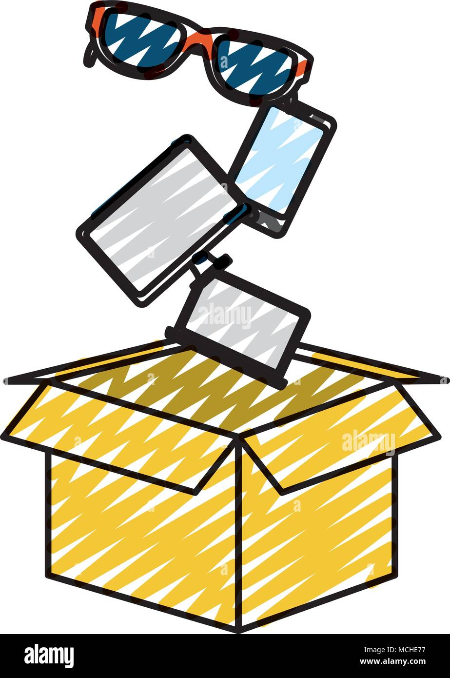 doodle screen computer with smartphone and sunglass inside box vector illustration - Stock Image