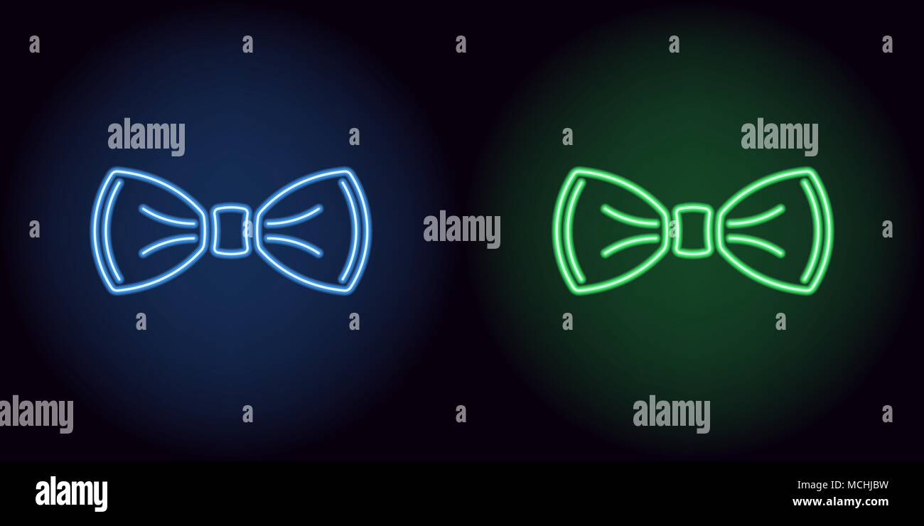 Neon bow tie in blue and green color. Vector illustration of neon bow knot consisting of outlines, with backlight on the dark background Stock Vector