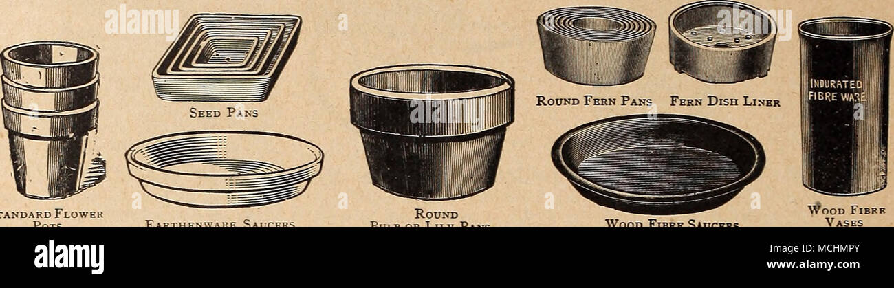 ". Standard Flower Pots Round Bulb or Lily Pans Earthenware Saucers Bulb or Lily Pans Wood Fibre Saucers STANDARD FLOWER POTS. No charge for packing. Six at dozen rates ; 50 at 100 rates ; 500 at 1000 rates. Full inside measurement Sizes. If ir 2 "" 2^ « 2k "" 3 "" 3* "" 3