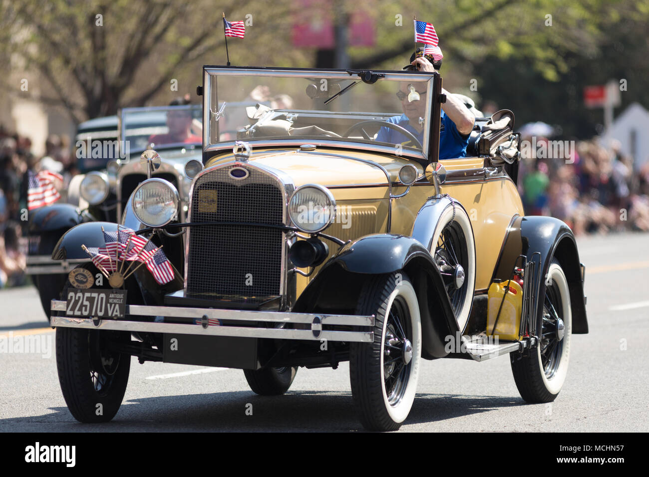 Washington, D.C., USA - April 14, 2018 Classic cars with american ...