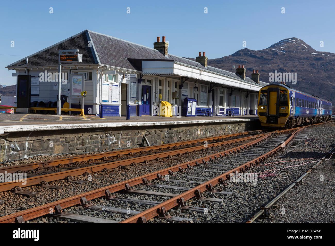 ScotRail diesel electric train waiting at Kyle of Lochalsh station, Highland Region, Scotland, UK - Stock Image