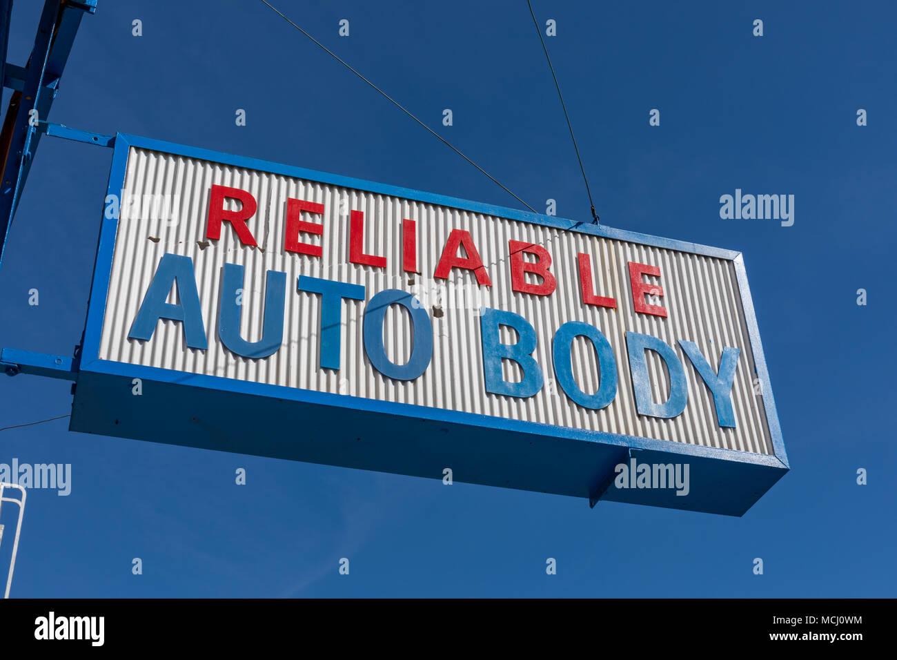 'Reliable Auto Body' sign; San Francisco, California, USA - Stock Image