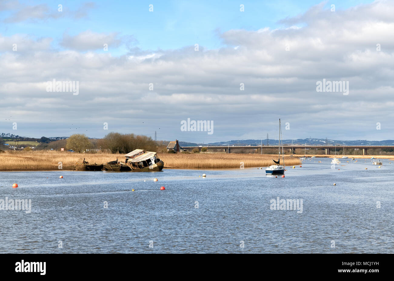 The abandoned hulks of three vessels on the banks of the River Exe opposite Topsham in Devon, England. 21 March 2018. - Stock Image