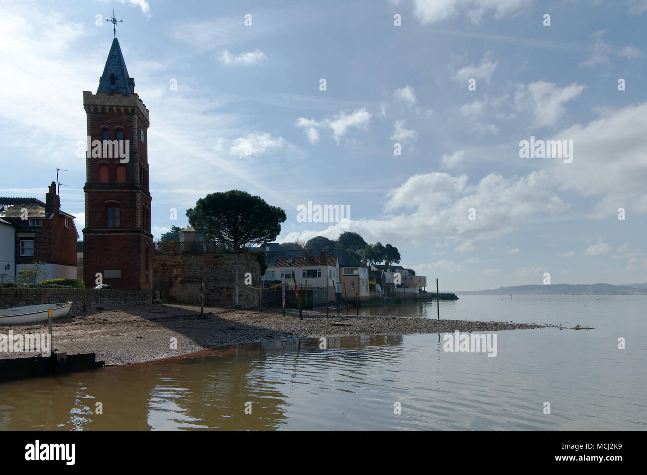 Lympstone harbour and Peter's Tower on the River Exe in Devon, England. 21 March 2018 - Stock Image