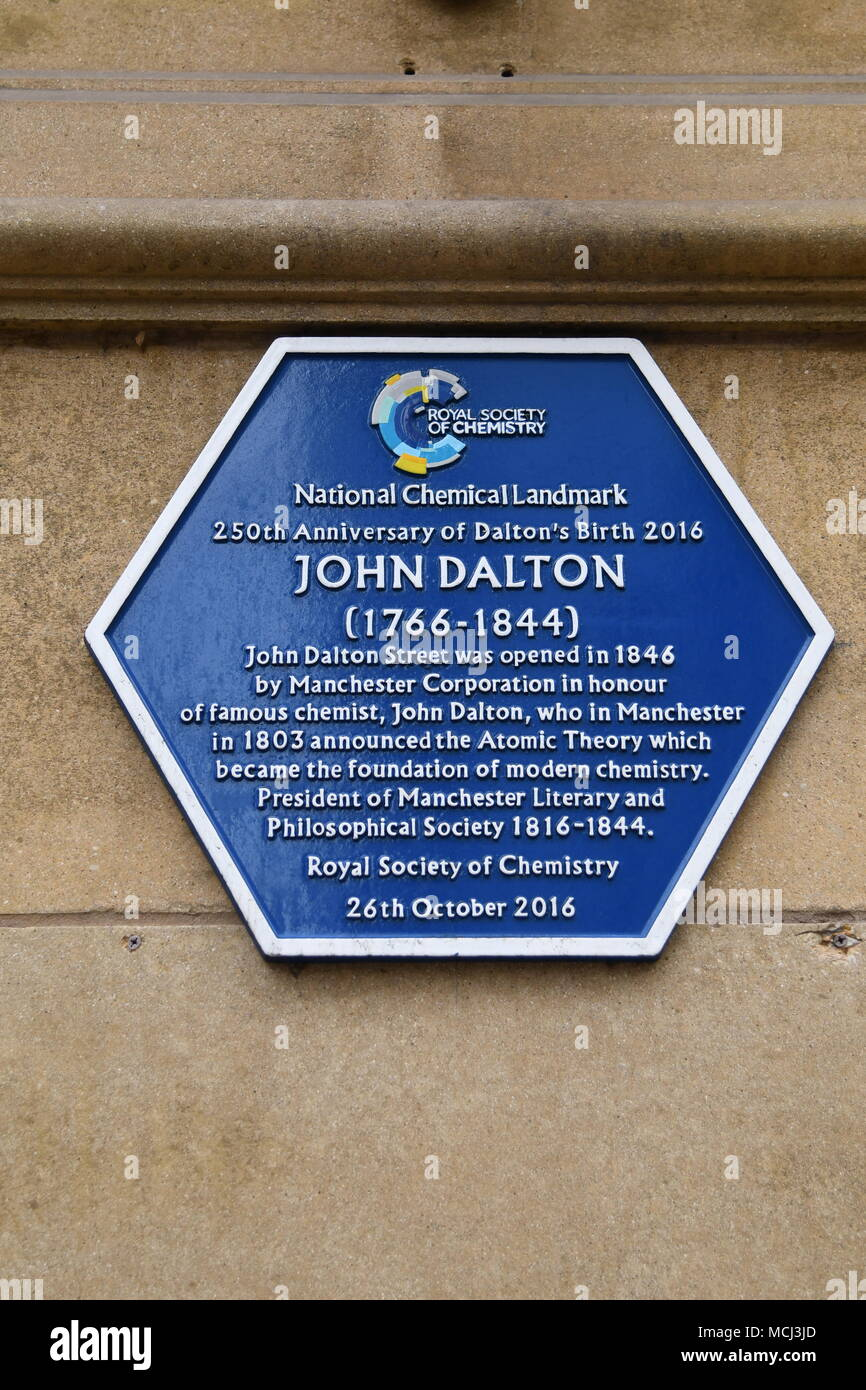 John Dalton plaque - Stock Image