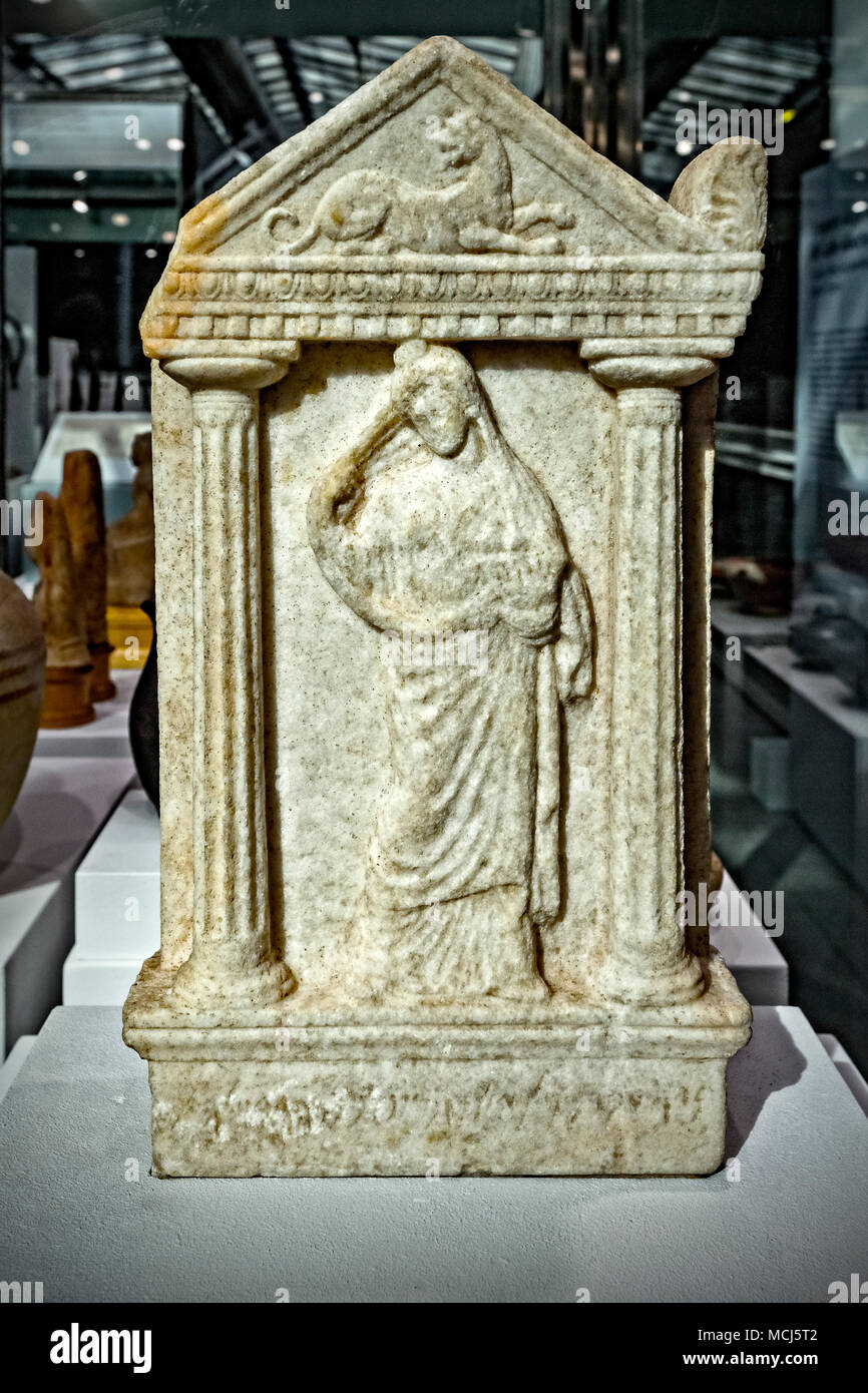 Piedmont Turin Polo Reale Museo di Antichità - Punic Stele with woman offerer - sanctuary, Tophet of Sulky - 3th century B. C. - Stock Image