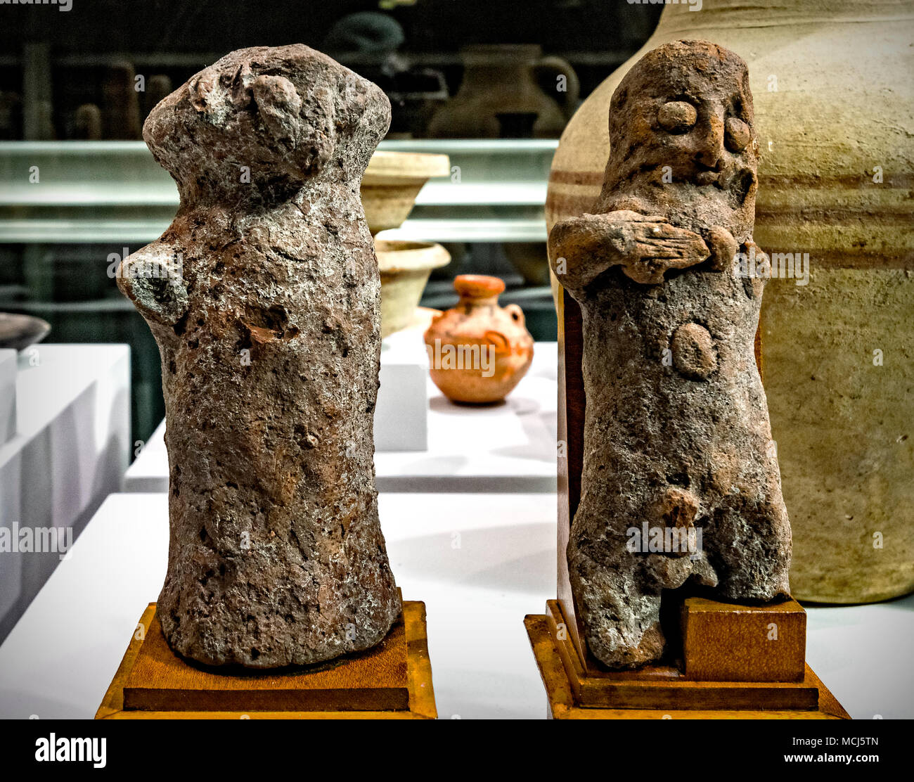 Piedmont Turin Polo Reale Museo di Antichità - Anthropomorphic statuettes  4th - 3th century B.C. from Tharros Oristano - Sardinia - Stock Image