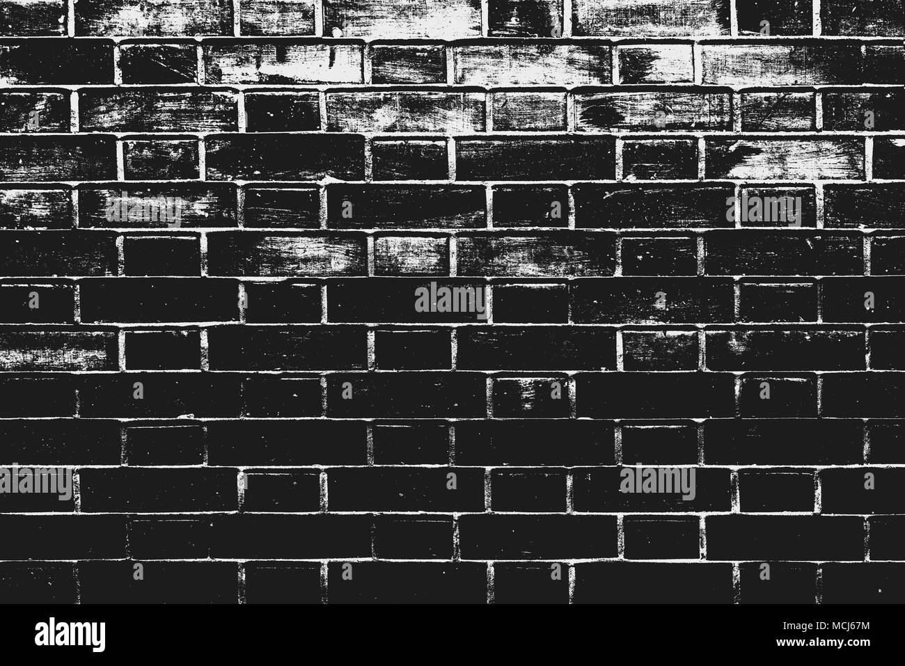 Black and white brick wall pattern as background. Texture of bricks with treshold effects as design element. - Stock Image