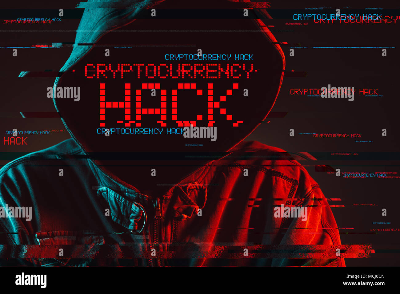 Cryptocurrency hack concept with faceless hooded male person, low