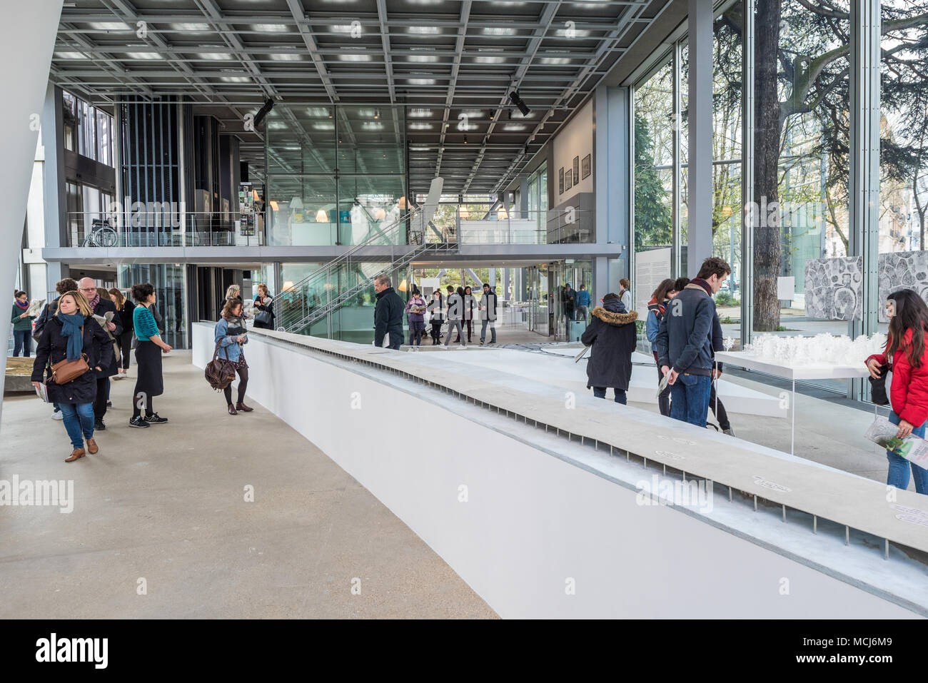 France, Paris - 5 April 2018: Fondation Cartier pour l'art contemporain designed by French architect Jean Nouvel - Junya Ishigami - Freeing architectu Stock Photo