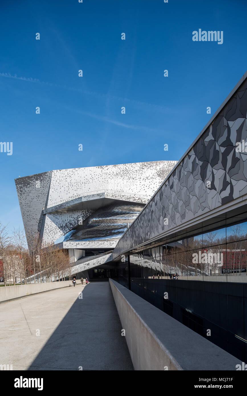 France, Paris - 6 April 2018: Philharmonie de Paris in the Parc de la Villette - designed by French architect Jean Nouvel Stock Photo