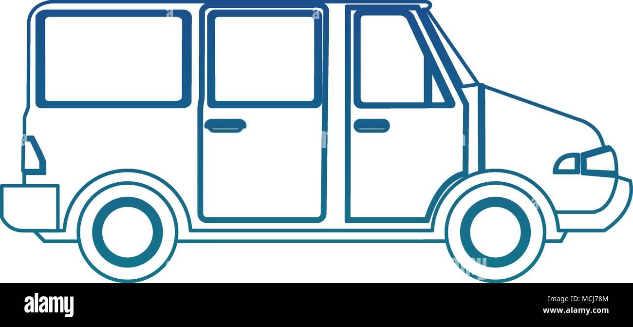 Van familiar vehicle blue lines - Stock Image