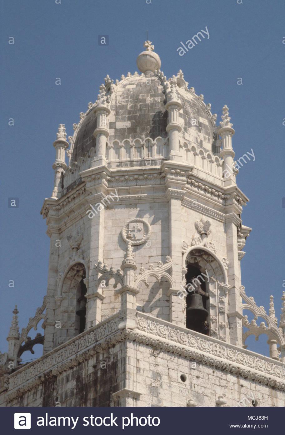 Bell tower, Jeronimos monastery ( Mosteiro dos Jeronimos), Belem, Lisbon, Portugal. - Stock Image